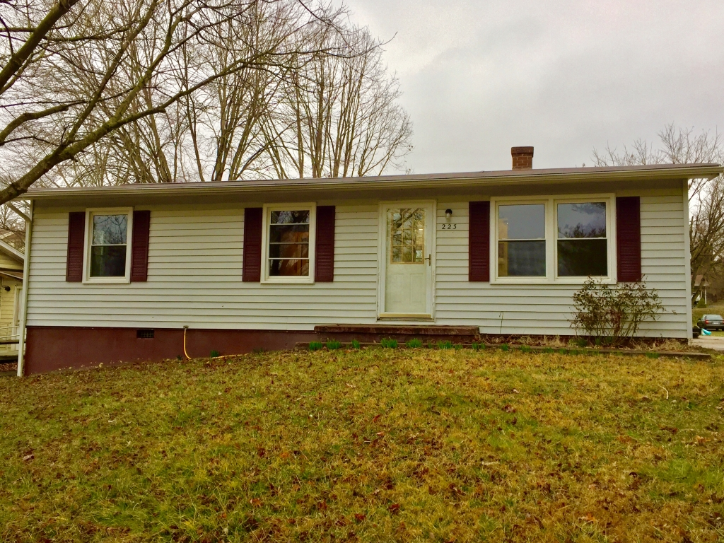 Ranch with 3 bedrooms, one bath, large living room with new carpet, Large eat-in Kitchen, lovely bath. Freshly painted inside, vinyl siding out side, and storage building with electricity.